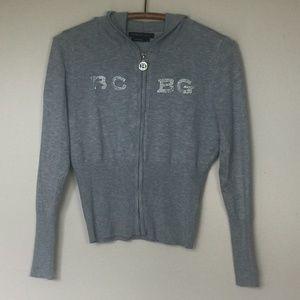 BCBGMaxAzria Gray Logo Bling Hoodie Sweater XL EUC